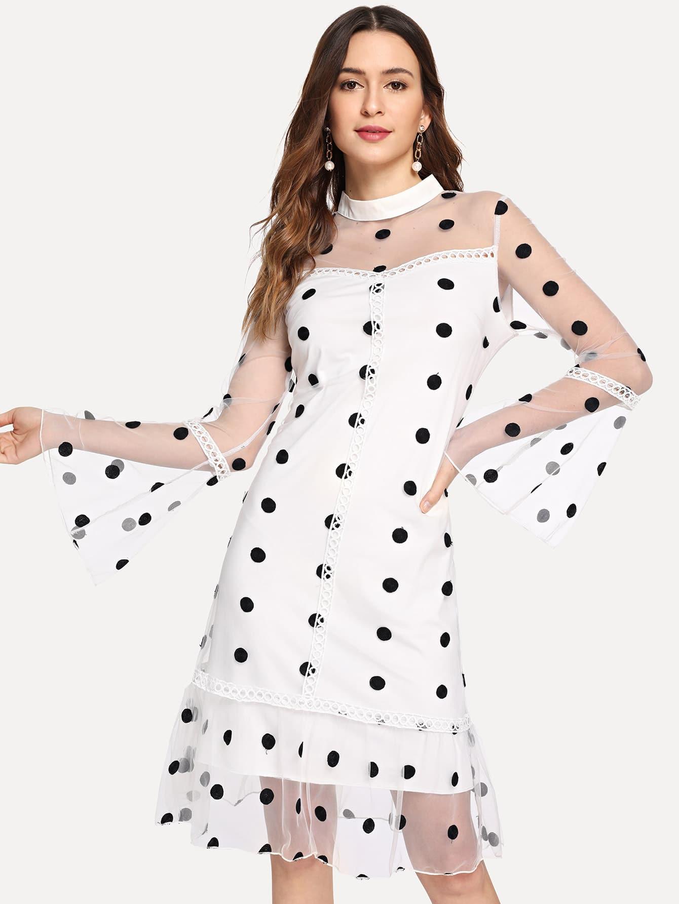 Купить 2 в 1 платье с рисунками точки и с рукавами-колокол, Jana, SheIn