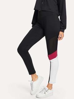 Mesh Contrast Skinny Leggings