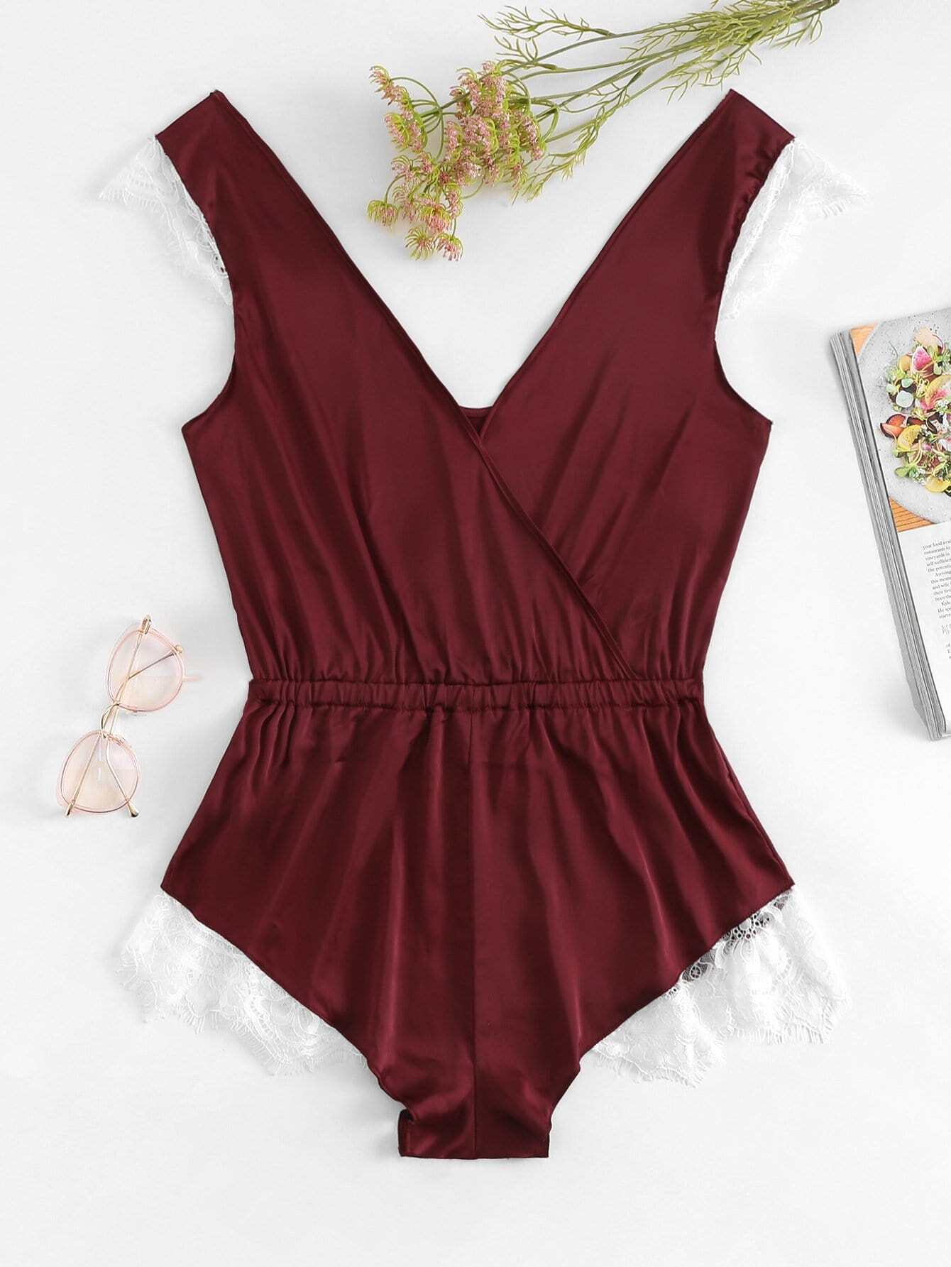 Contrast Lace Romper