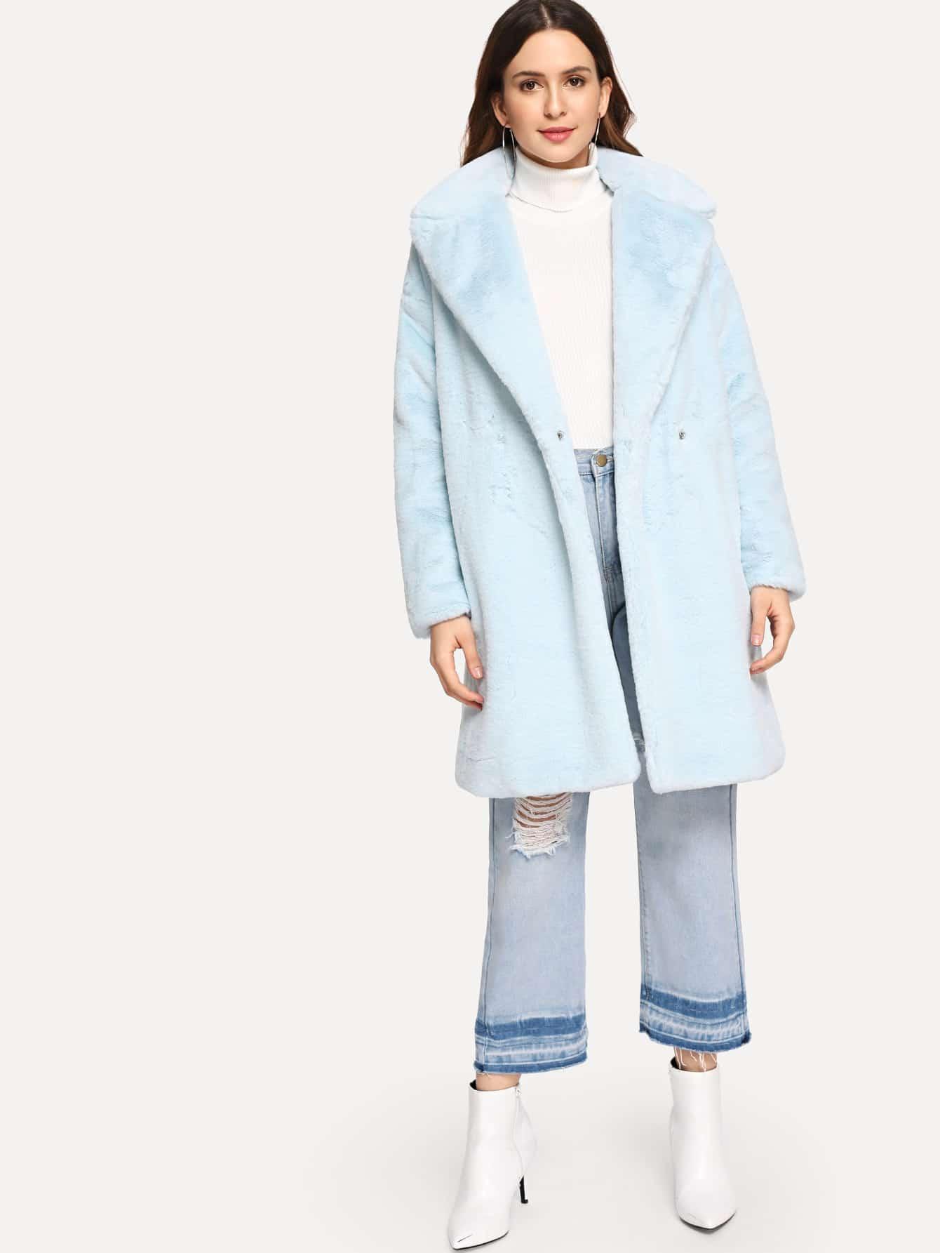 Купить Тедди пальто на пуговицах из искусственного меха, Jana, SheIn
