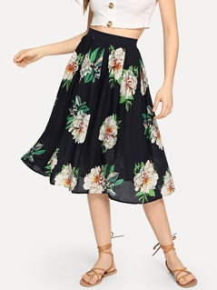 Flower Print Boxed Pleated Skirt