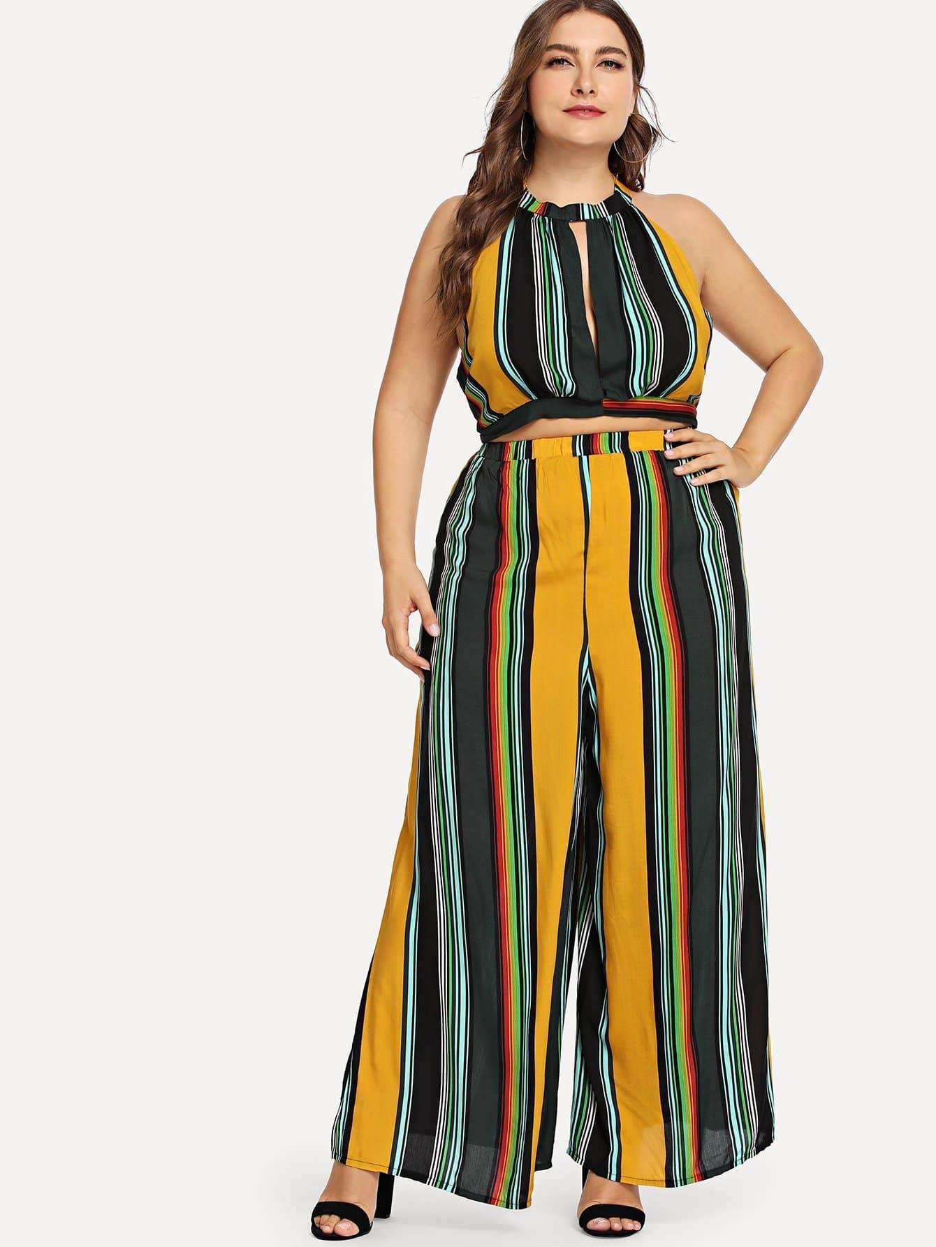 Купить Плюс Cut Out Front Stripe Halter Top & Pants Set, Franziska, SheIn