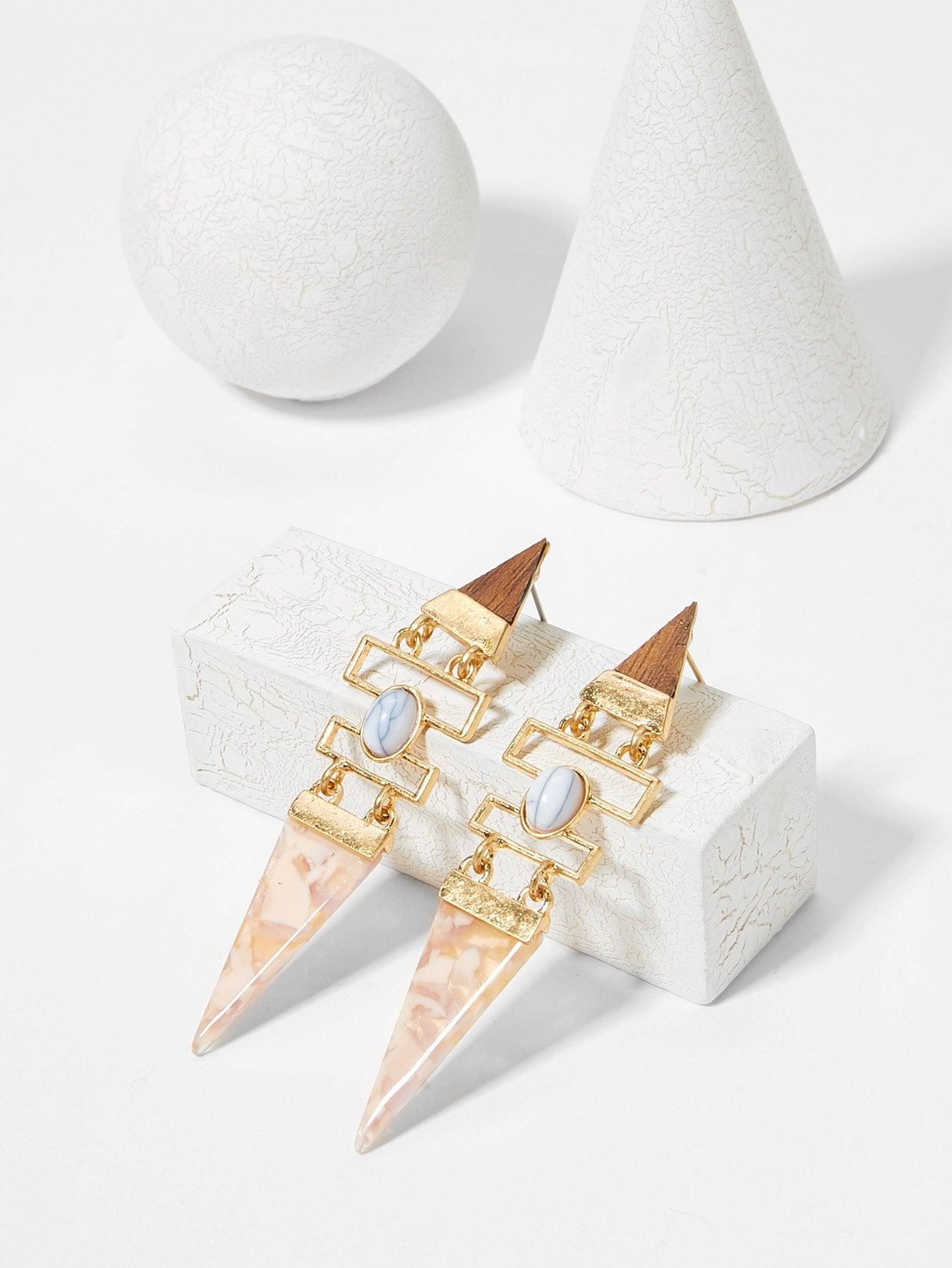 Купить Геометрические серьги падения из треугольного мрамора, null, SheIn
