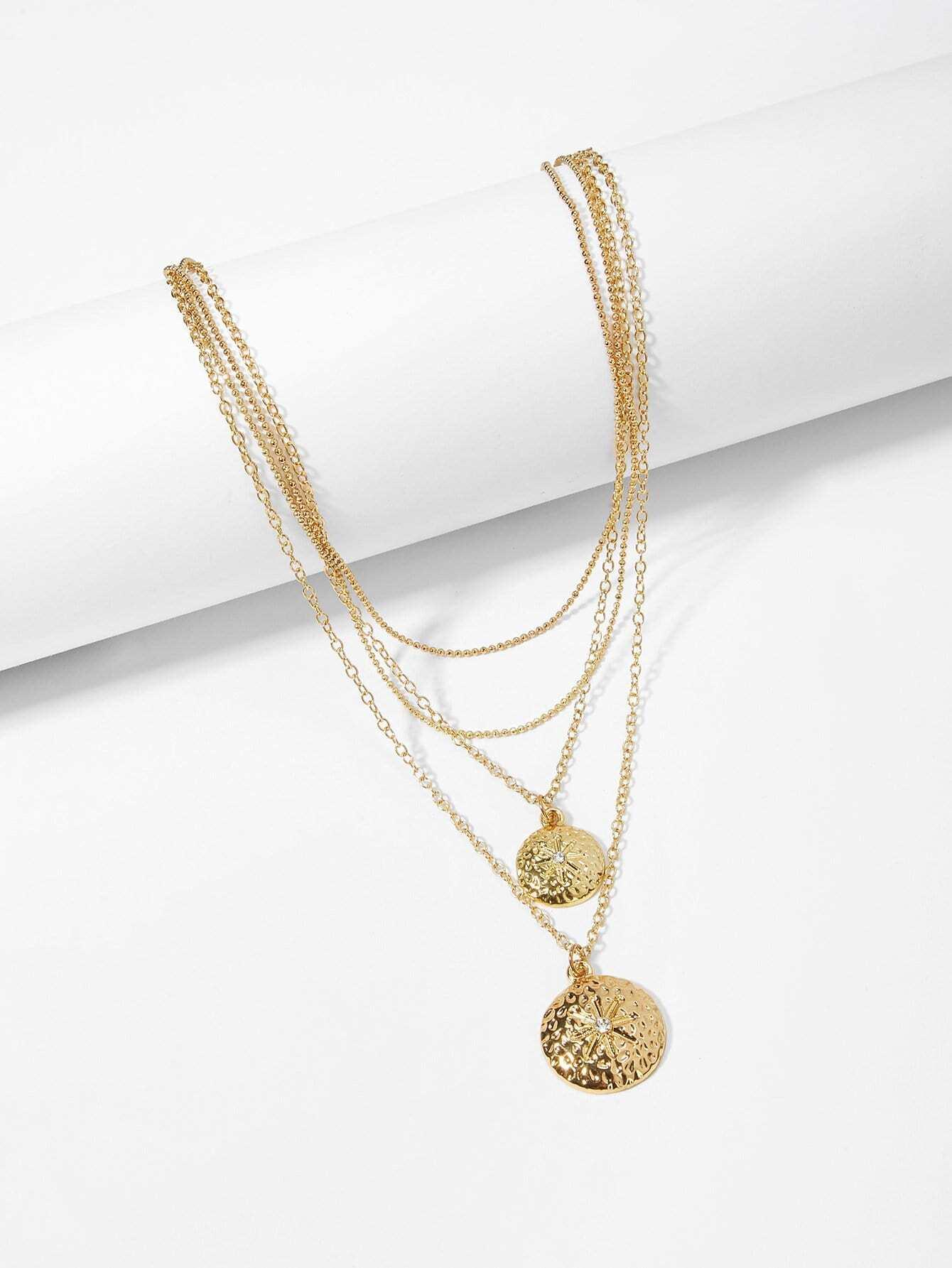 Купить Круглый слоистый кулон цепочки и ожерелья, null, SheIn