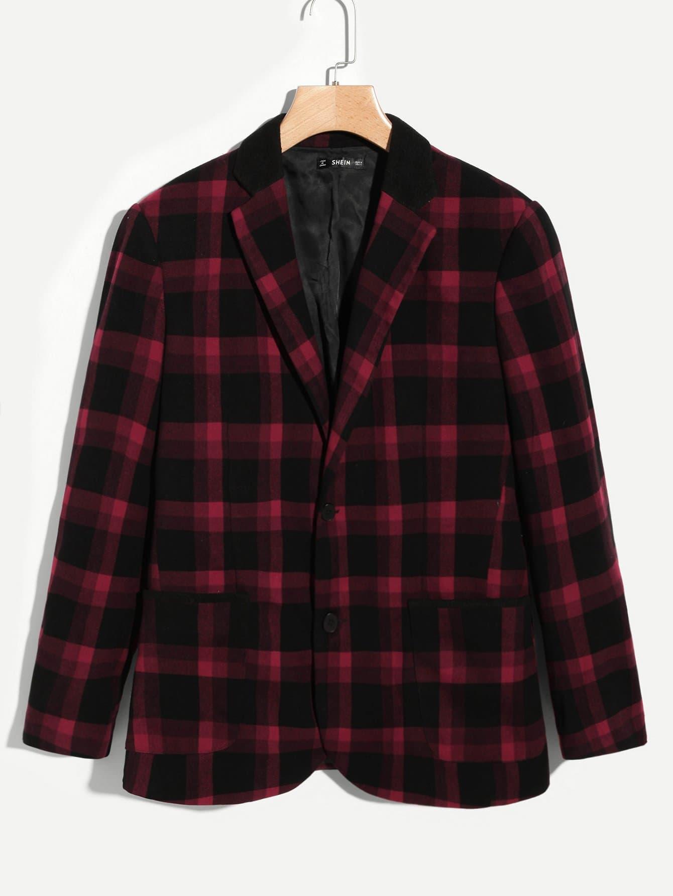 Купить Однобортный пиджак в клетку для мужчины, null, SheIn