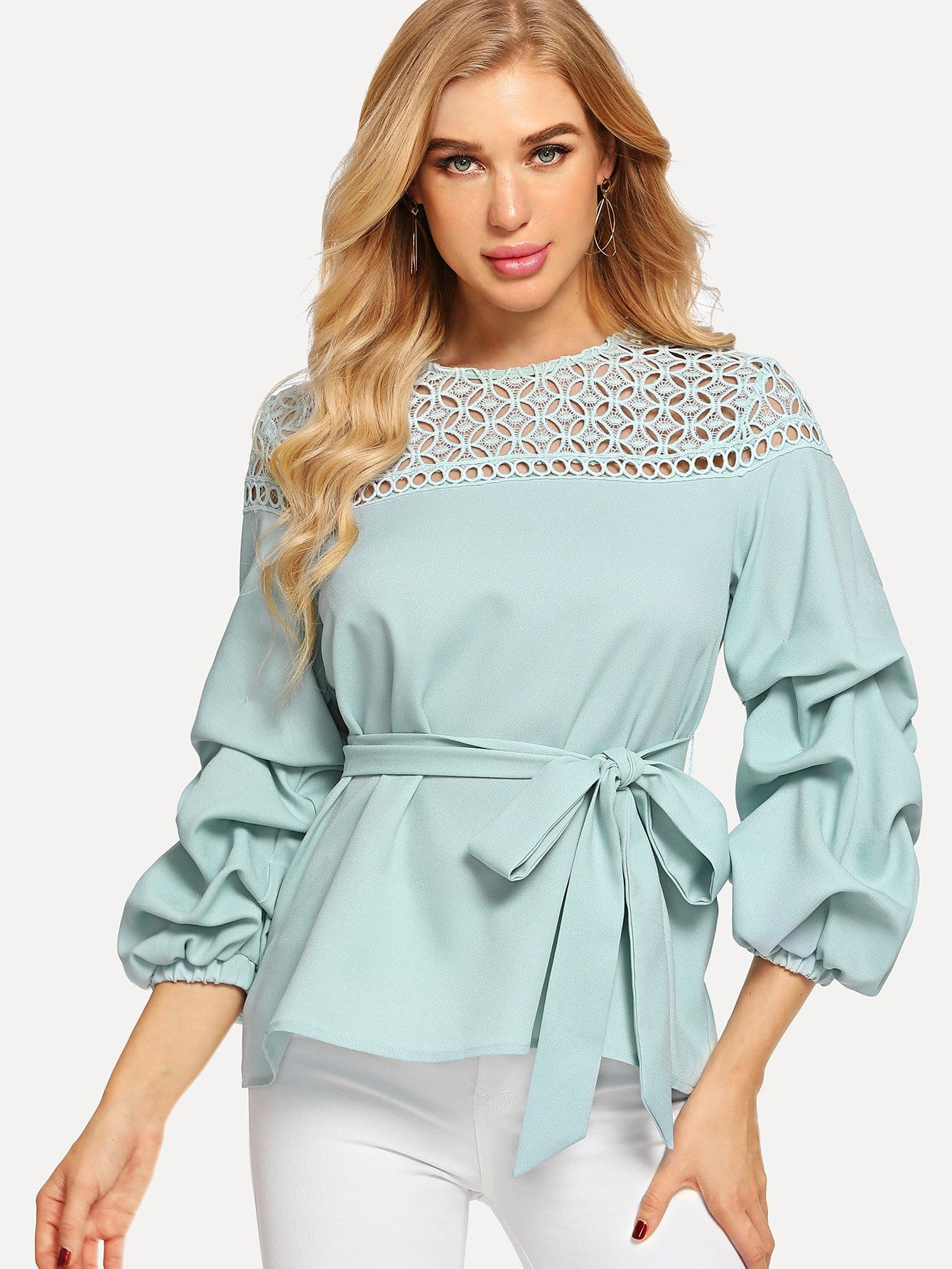 Guipure Lace Yoke Gather Sleeve Belted Top