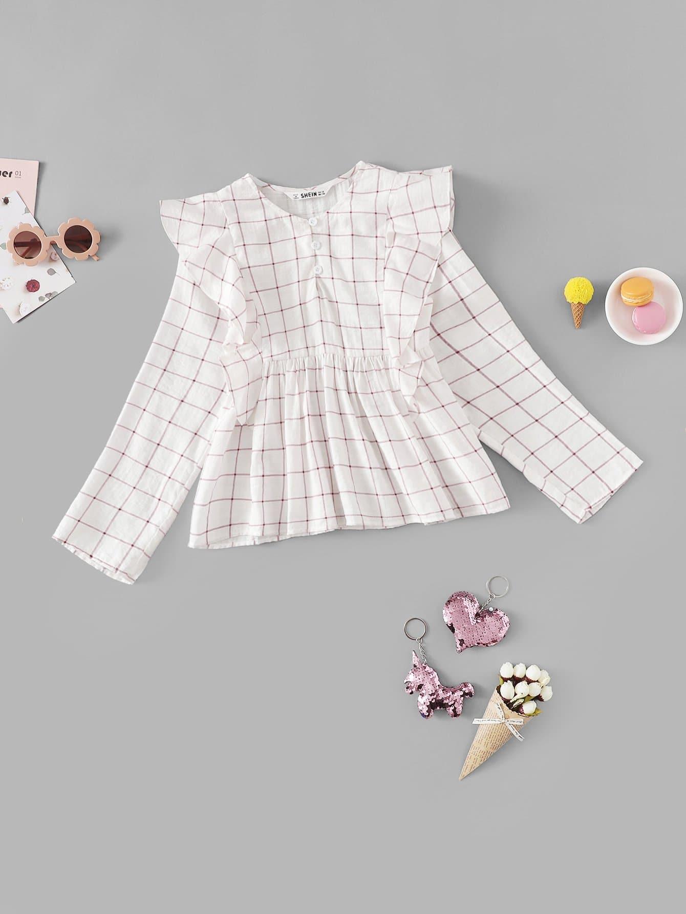 Купить Блузка с кружевными оборками и с украшением пуговицы перед одежды для девочки, null, SheIn