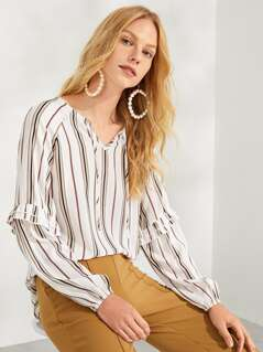 Ruffle Detail Tie Neck Striped Top