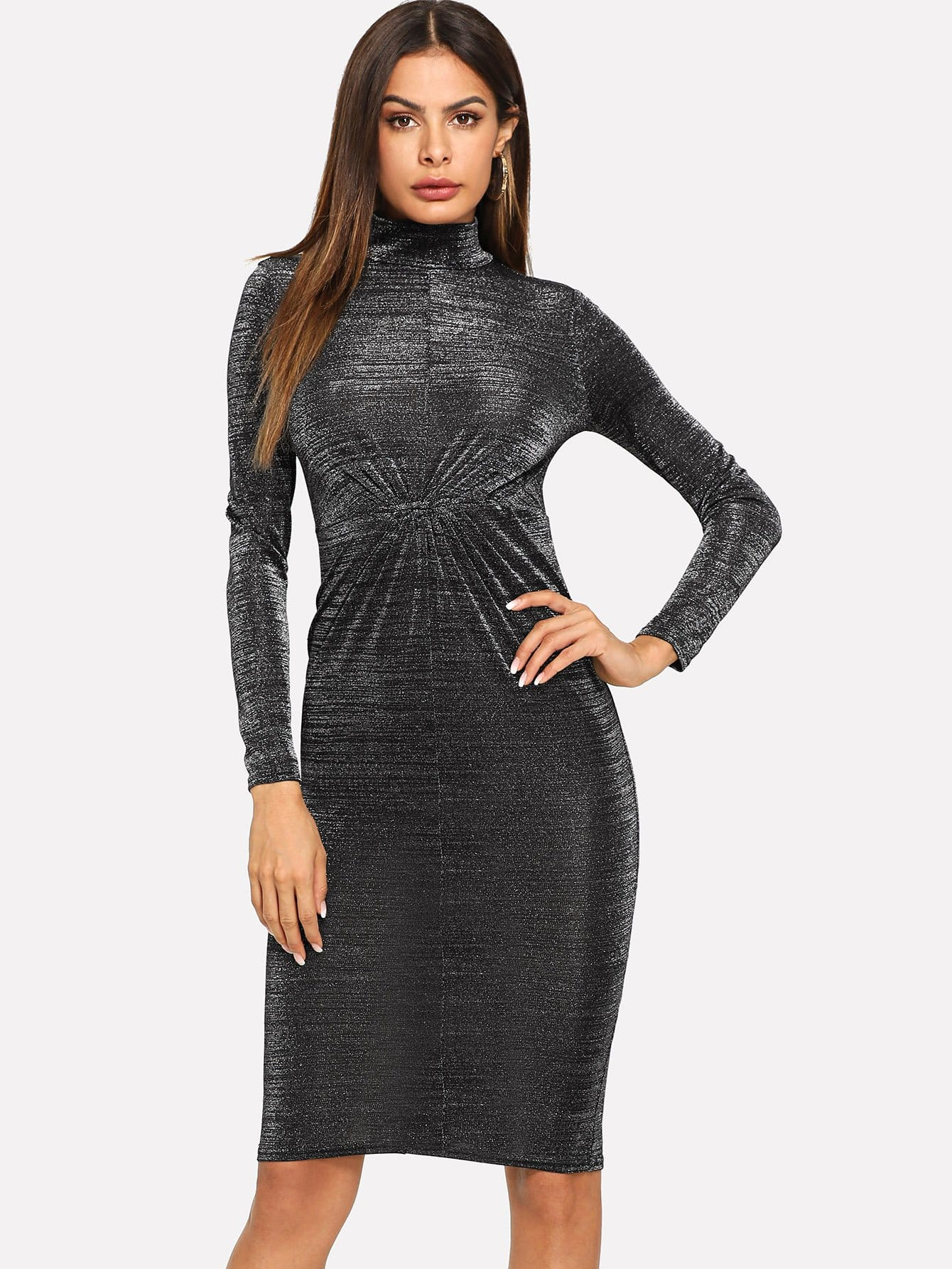 Twist Front Glitter Mock Dress