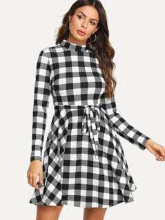 Waist Belted Plaid Dress