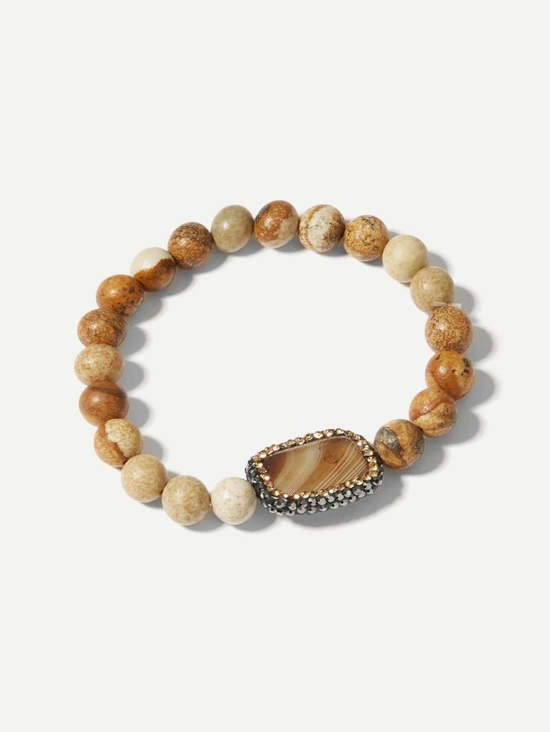 Men Marble Pattern Beaded Bracelet, Brown