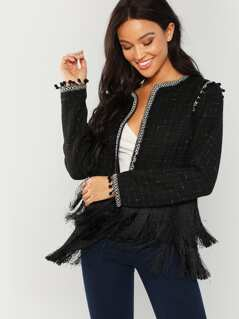 Fringe Hem Tweed Jacket