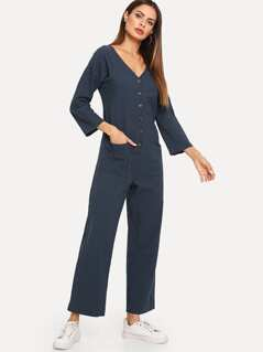 Button Front V Neck Jumpsuit
