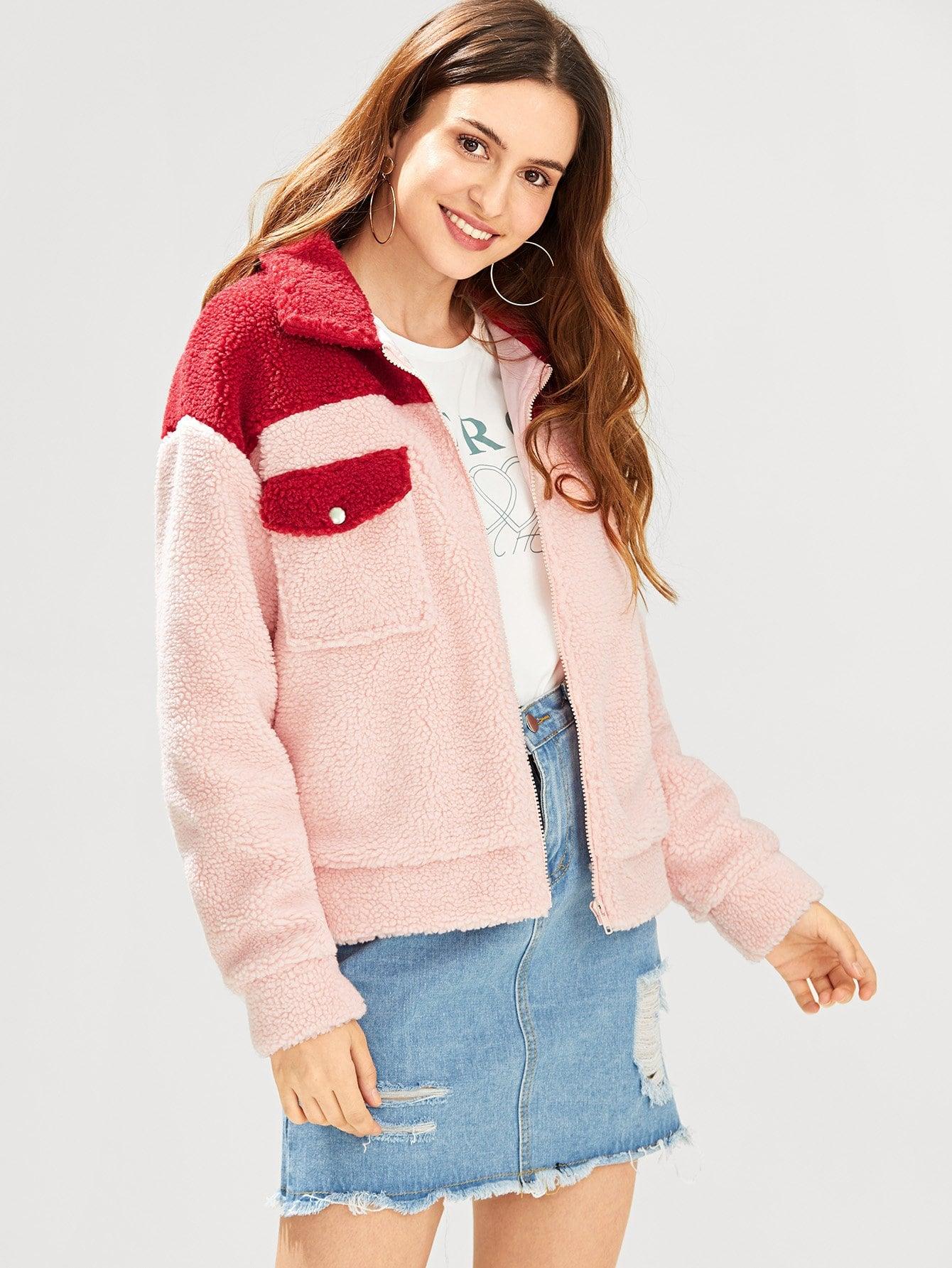 Купить Тедди пальто на молнии с карманом, Jana, SheIn