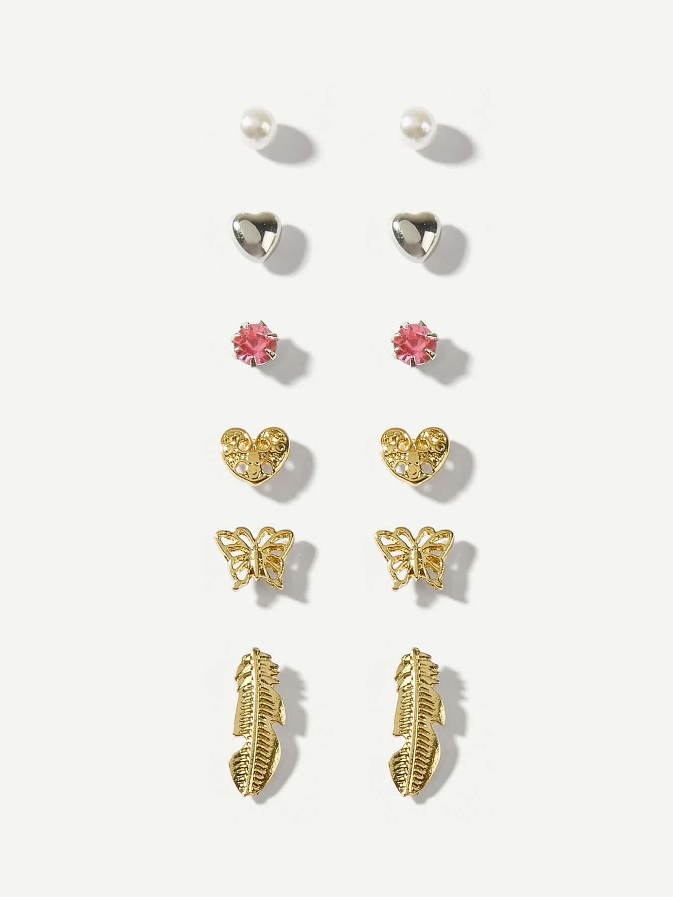 Heart & Butterfly Stud Earrings 6pairs