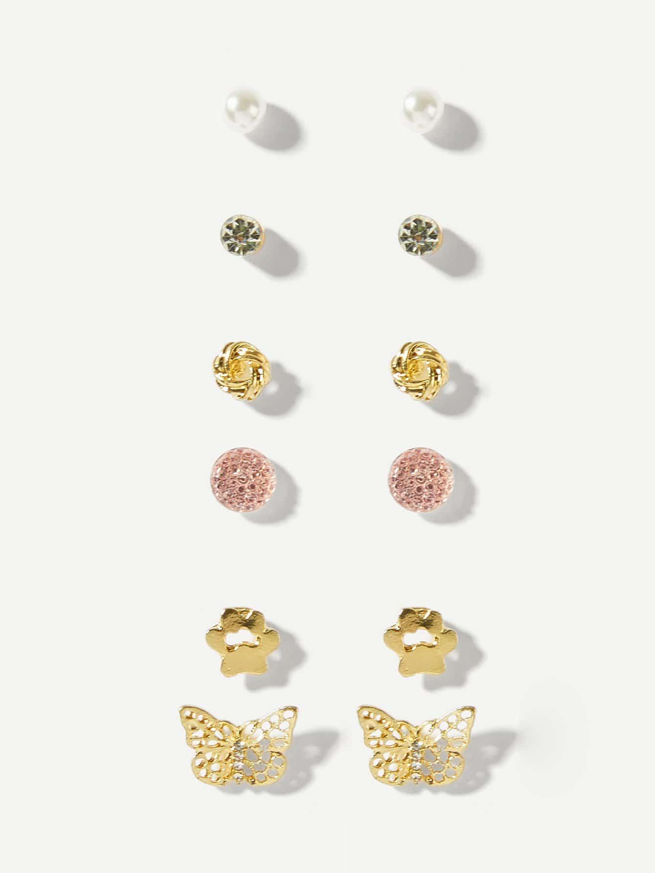 Round & Footprint Stud Earrings 6pairs
