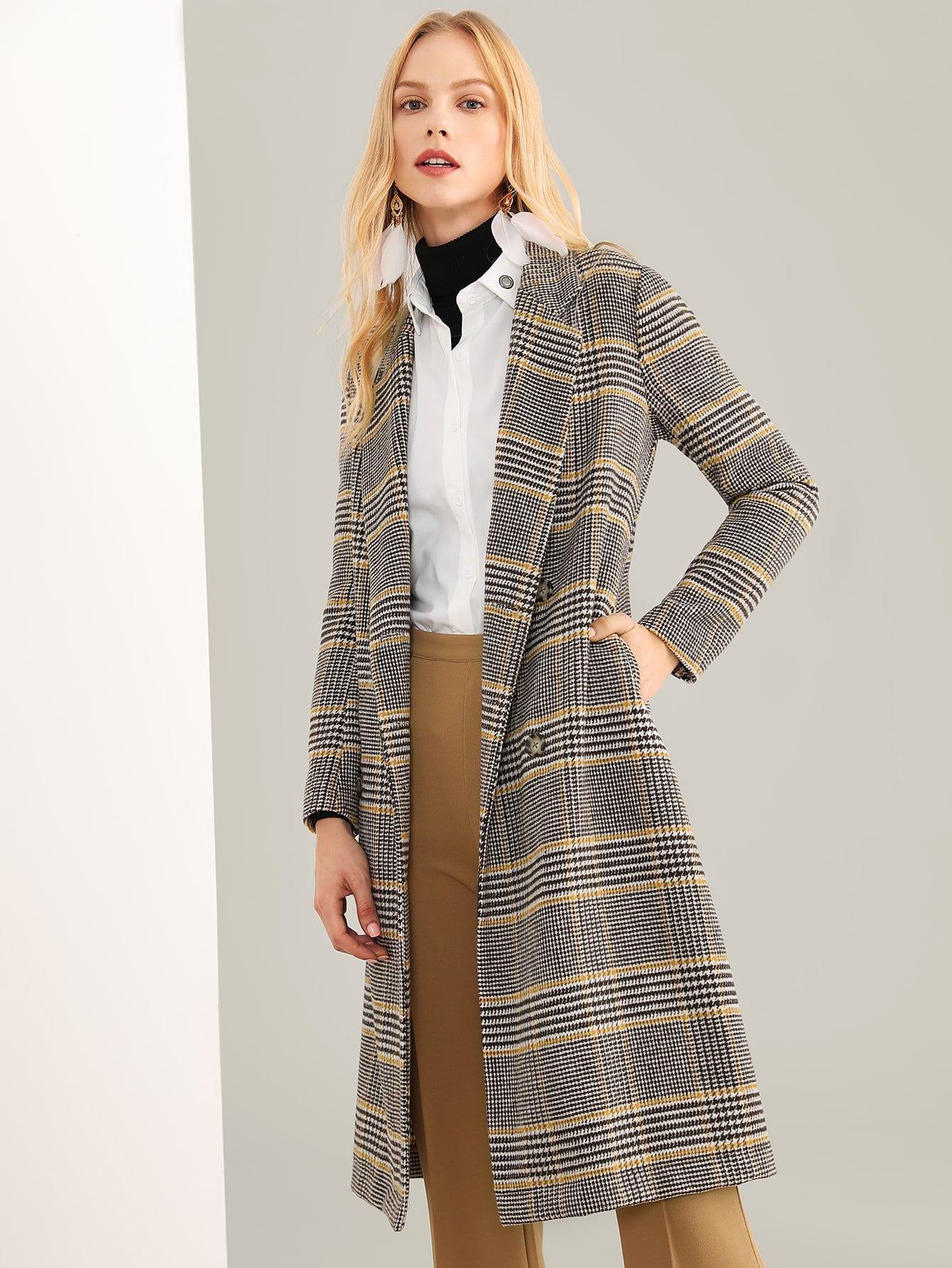 Купить Пальто в клетку и с воротником Notched, Denisa, SheIn