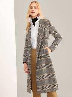 Notched Neck Plaid coat