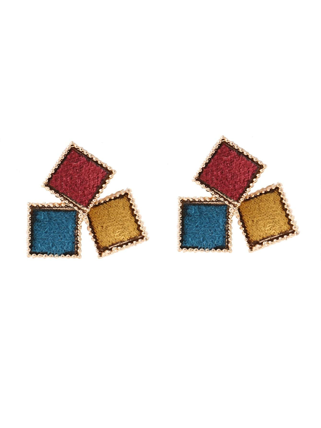 Color Block Square Stud Earrings