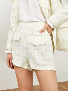 Faux Flap Pocket Tweed Shorts