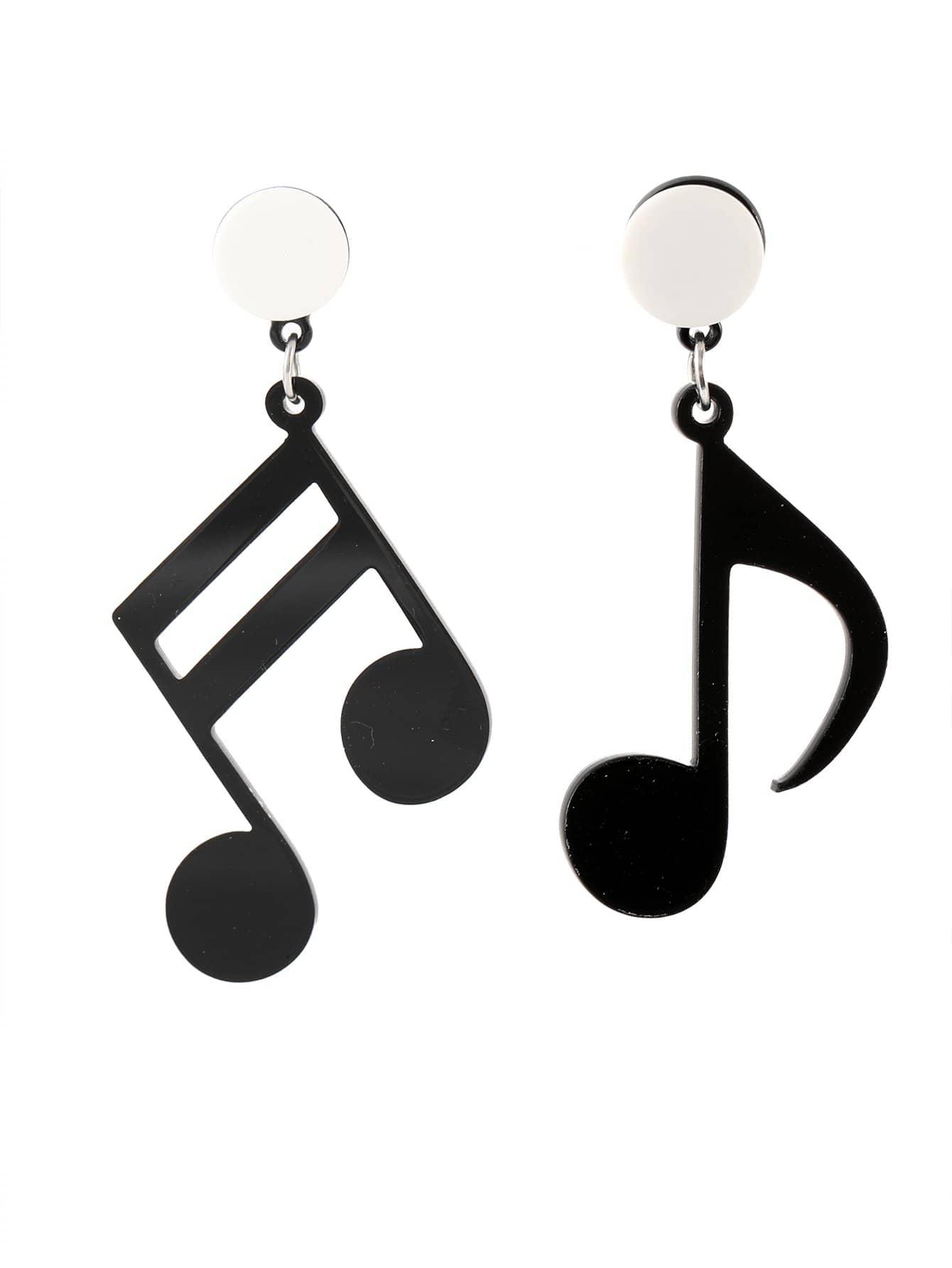 Musiknote Asymmetrische Tropfen Ohrringe