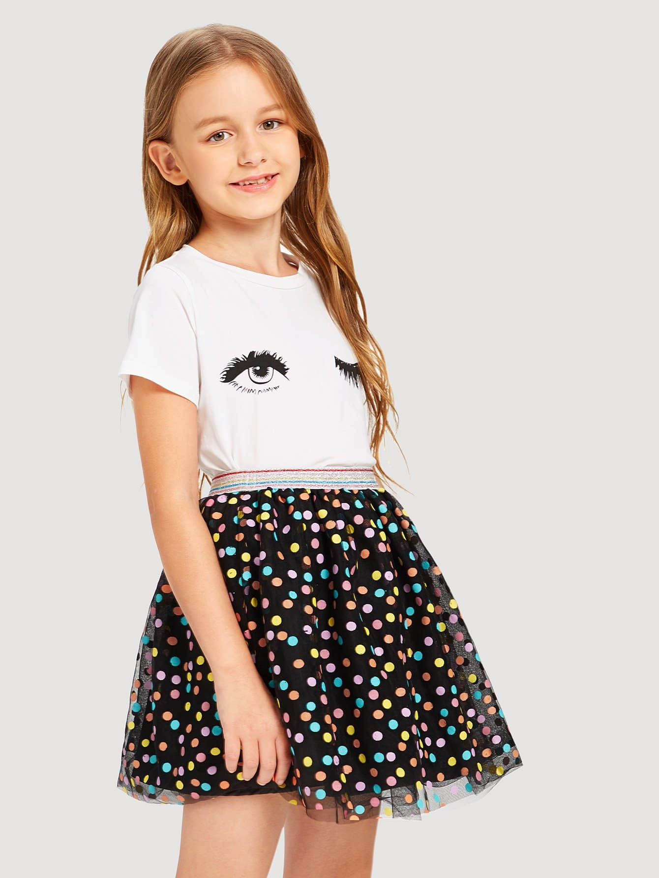 Girls Mesh Contrast Polka Dot Skirt