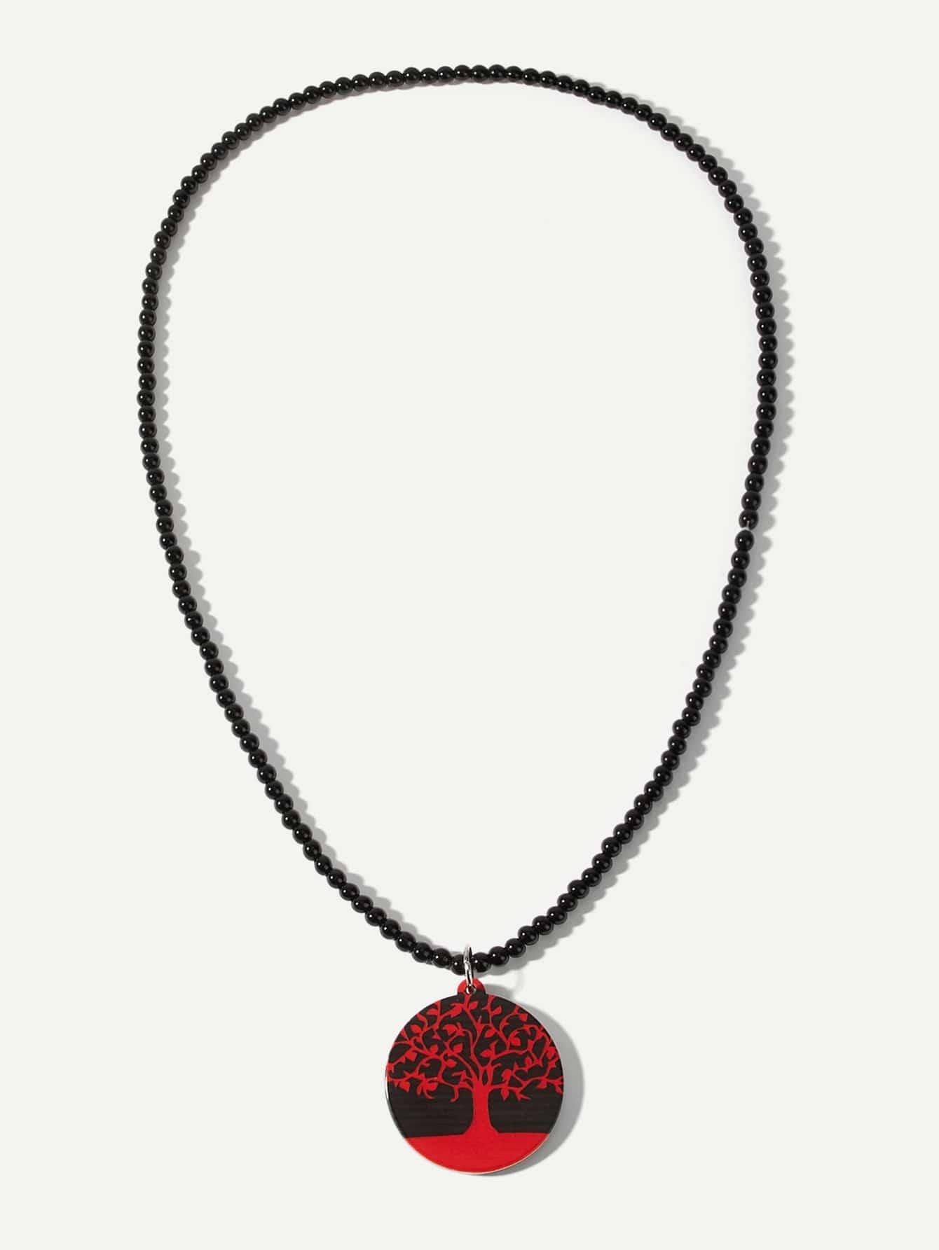 Männer Halskette mit Baum Anhänger und Perlen