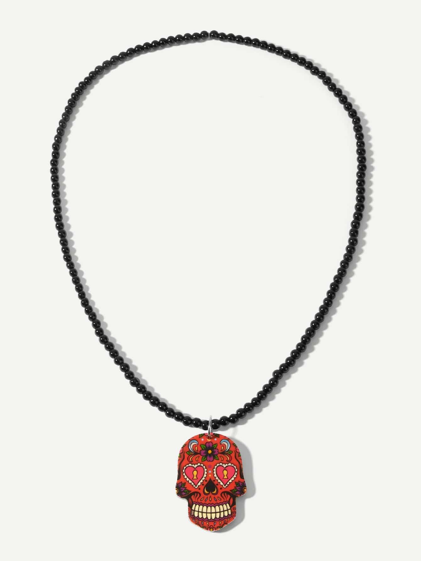 Männer Halskette mit Skelett Anhänger und Perlen