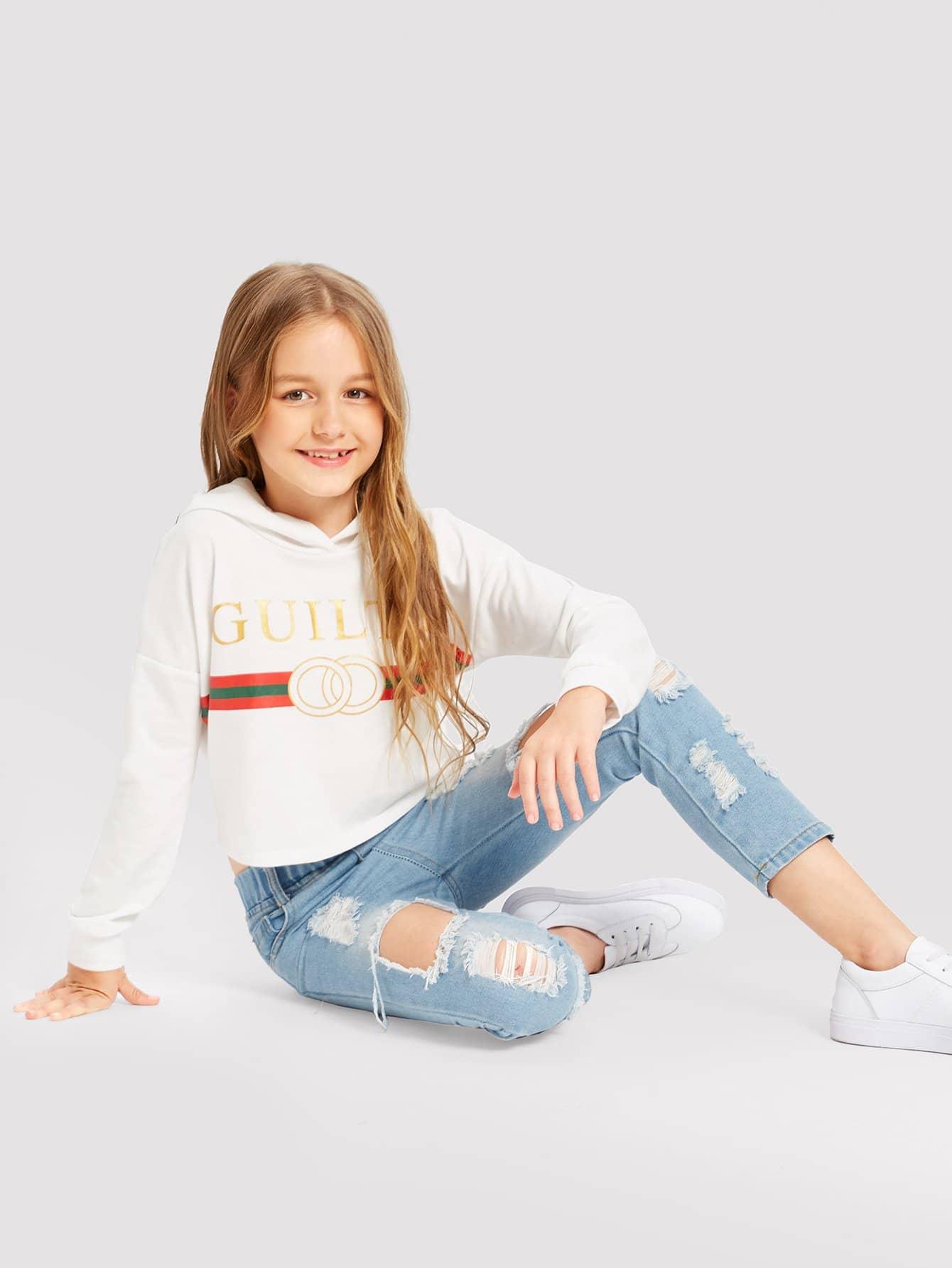Купить Пуловер с капюшоном и с рисунками смешанными для девочки, Sashab, SheIn