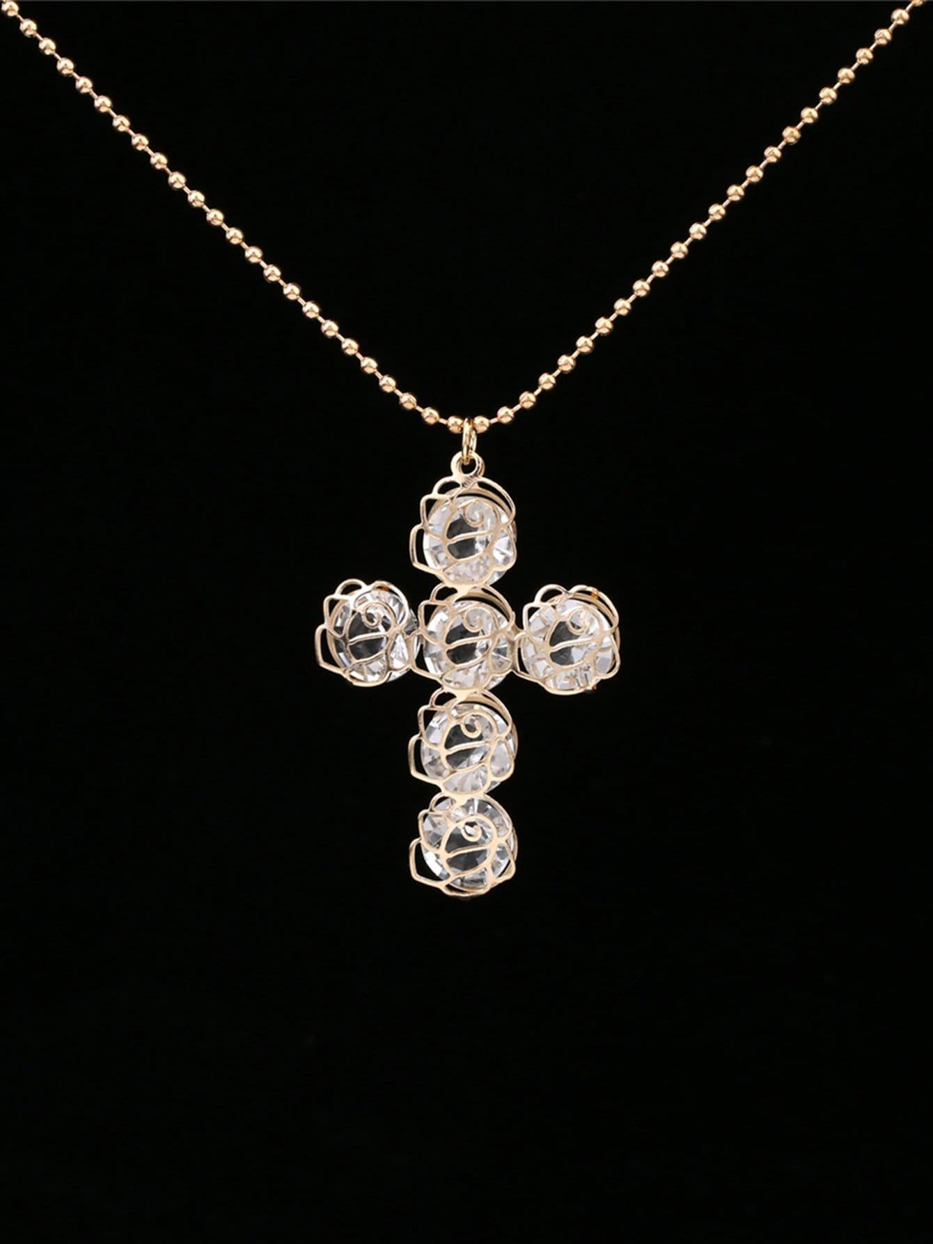 Creux Rose Détail Pendentif Croix Collier