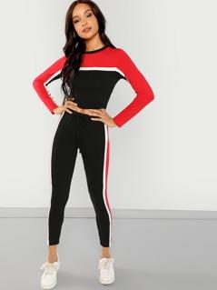 Color Block Striped Top & Drawstring Pants Set