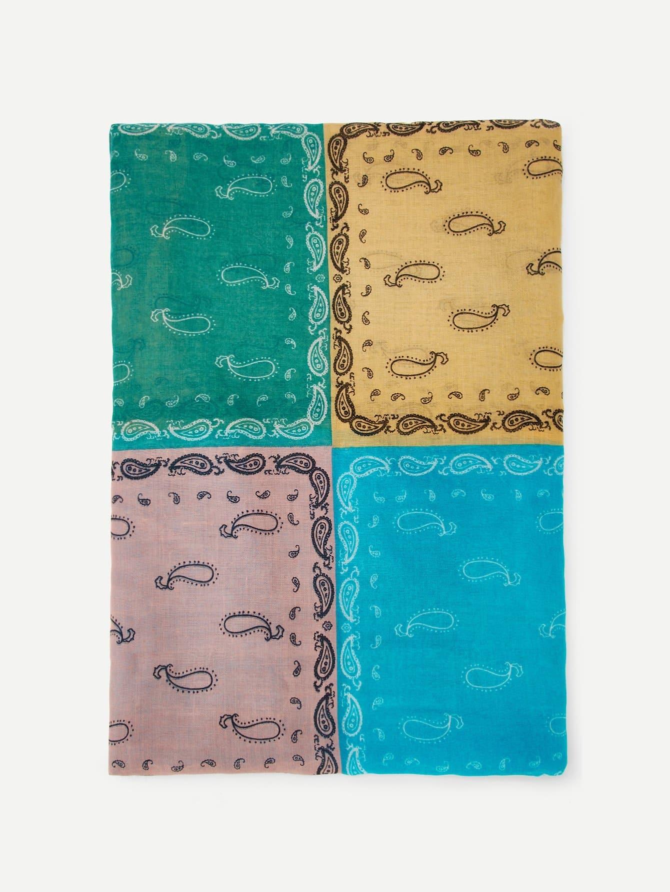 Купить Пейсли Печатный цветной шарф, null, SheIn