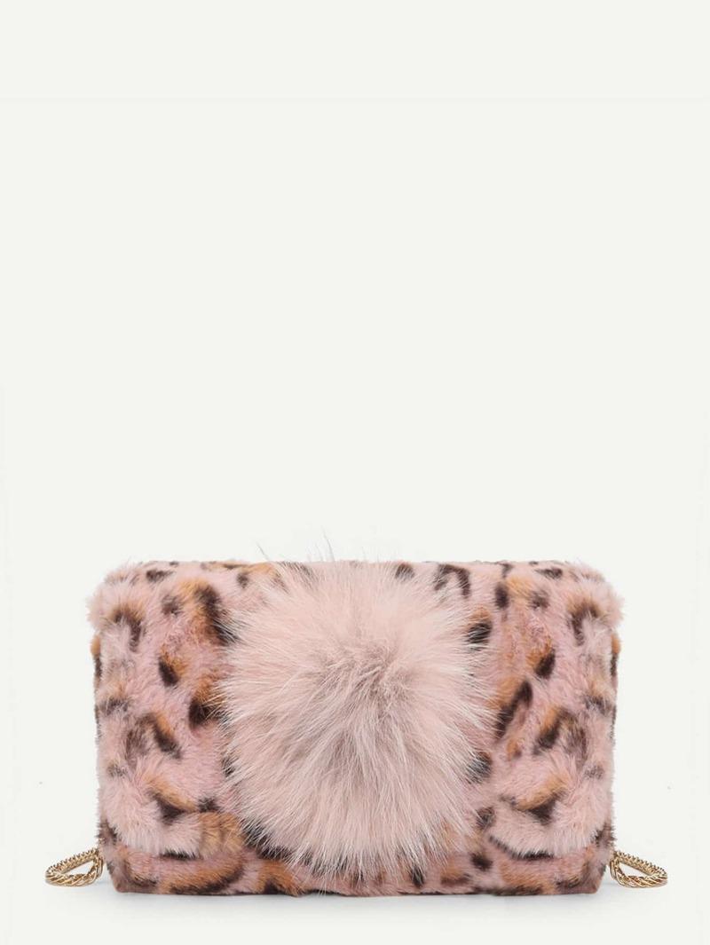 Faux Fur Leopard Print Chain Bag With Pom Pom, Multicolor