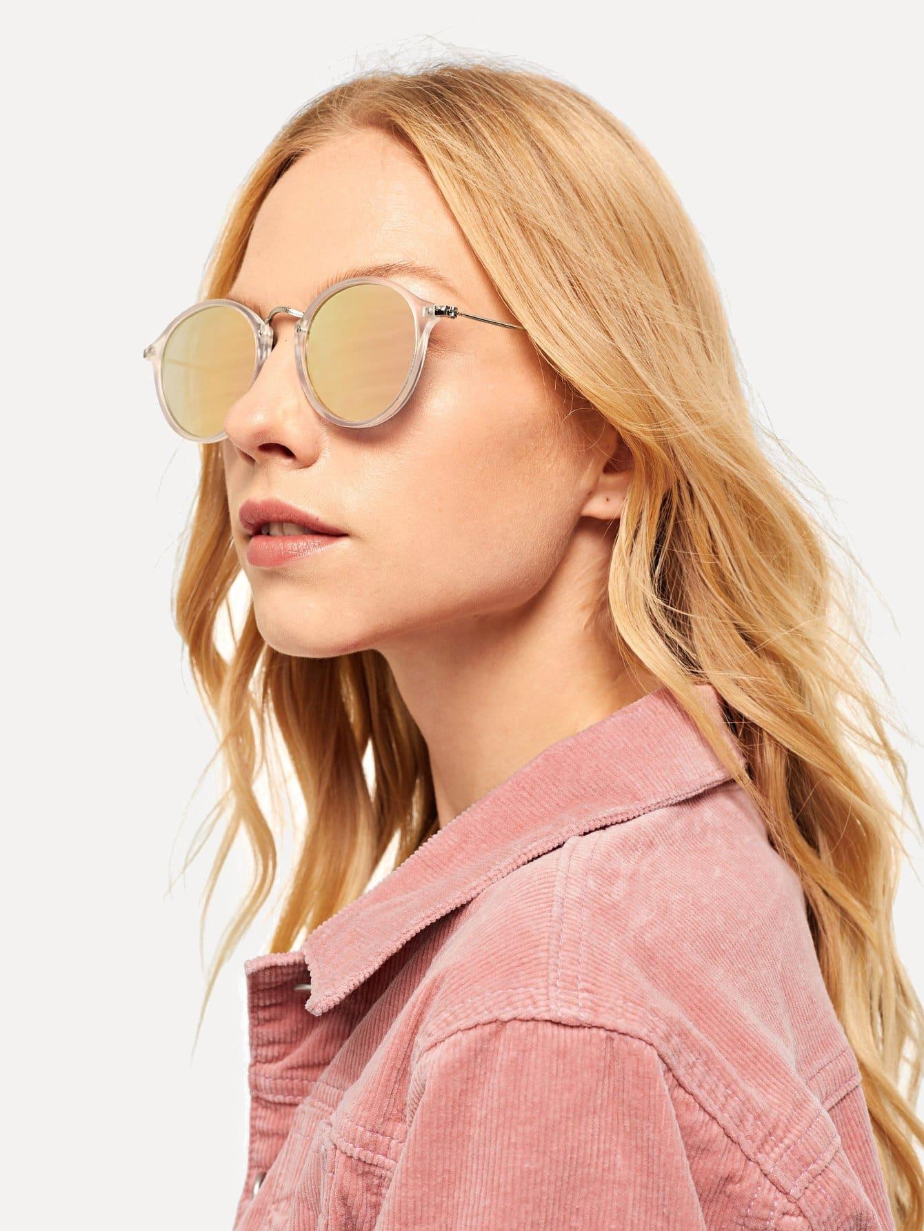 Купить Солнцезащитные очки с прозрачными оправами и с линзами зеркала, null, SheIn
