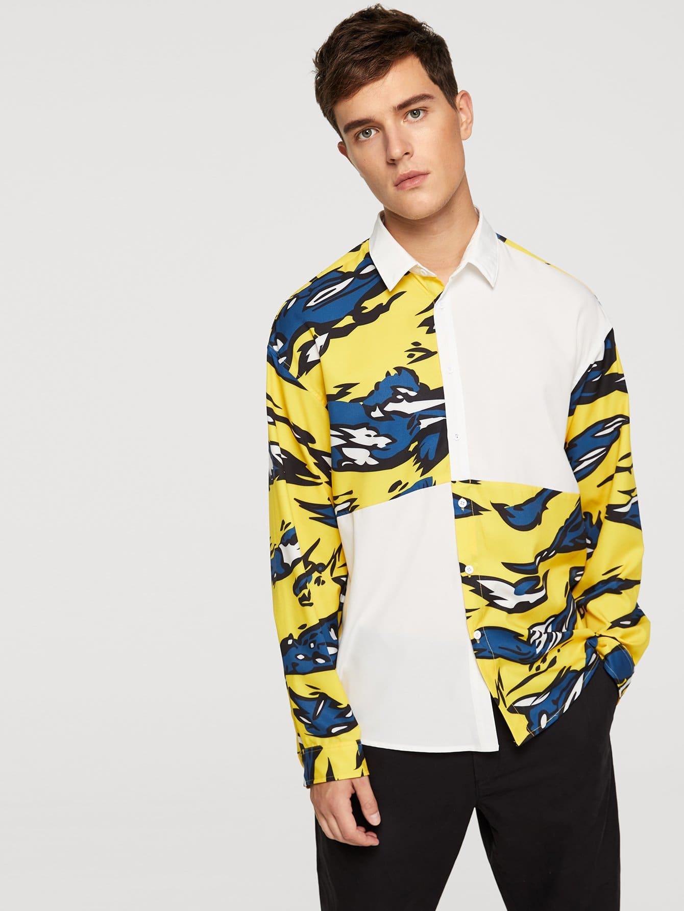 Купить Контрастная футболка с украшением пуговицы для мужчины, Vitaly, SheIn