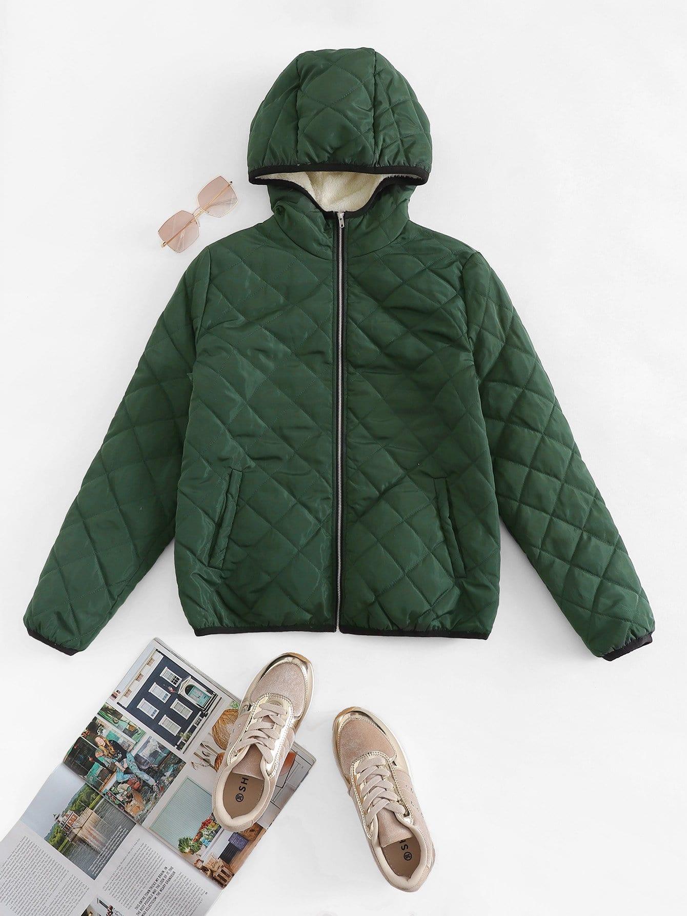 Купить Пальто с капюшоном и застёжкой молния и с карманами, null, SheIn