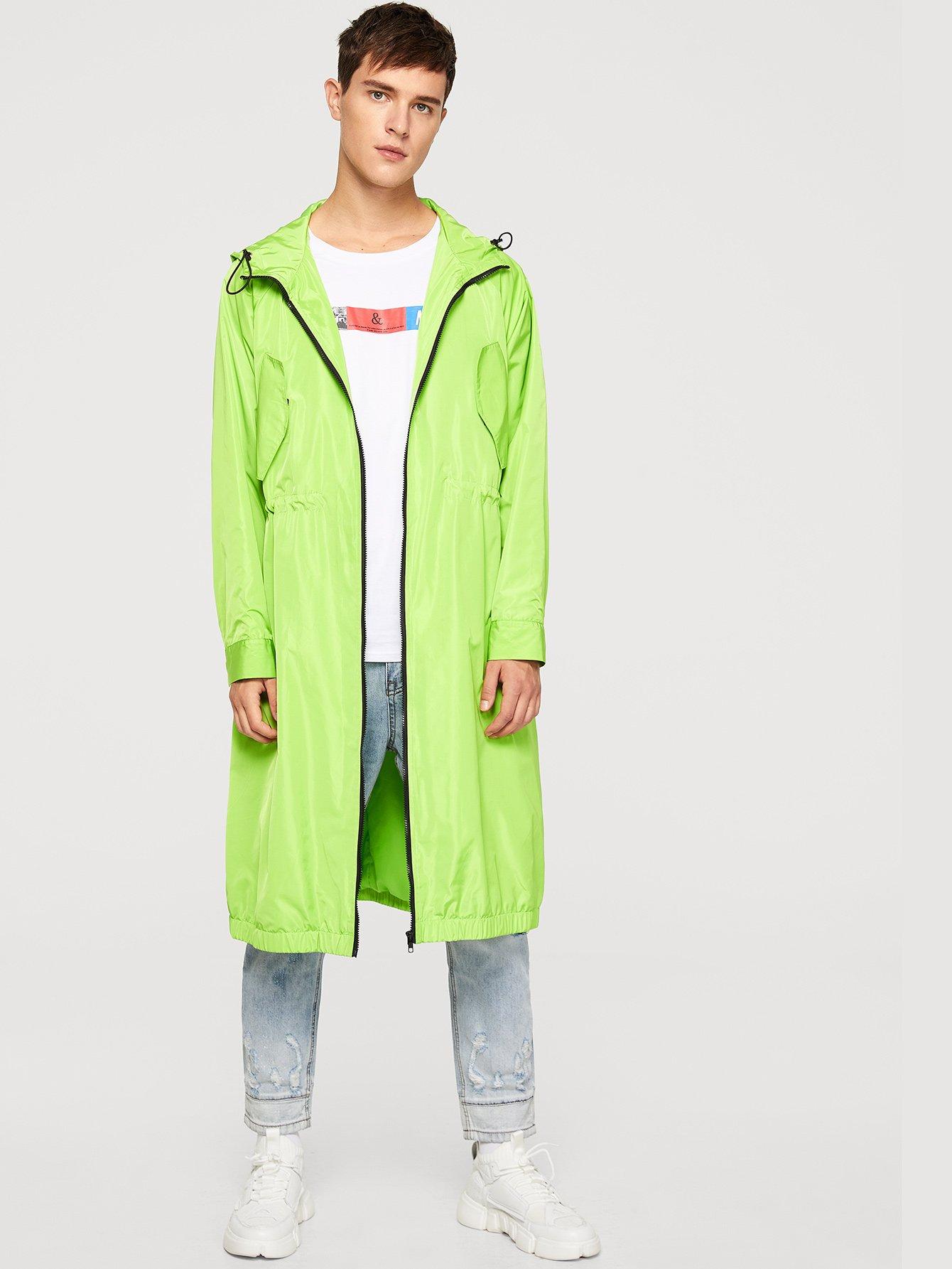 Купить Длинное пальто с капюшоном и кулиской и с застёжкой молния для мужчины, Vitaly, SheIn