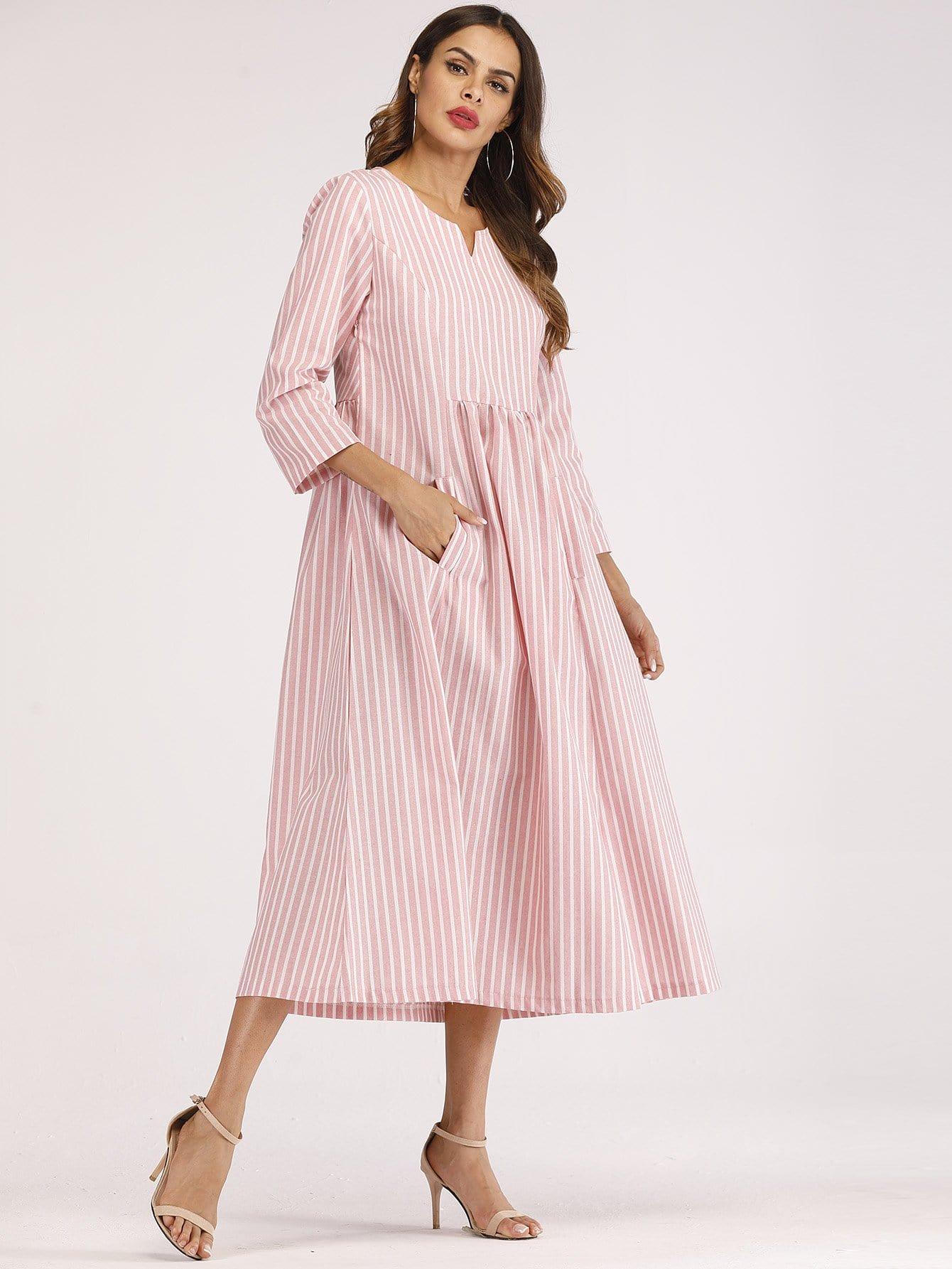 Купить Тоное -полосатое платье с невидимыми карманами, null, SheIn