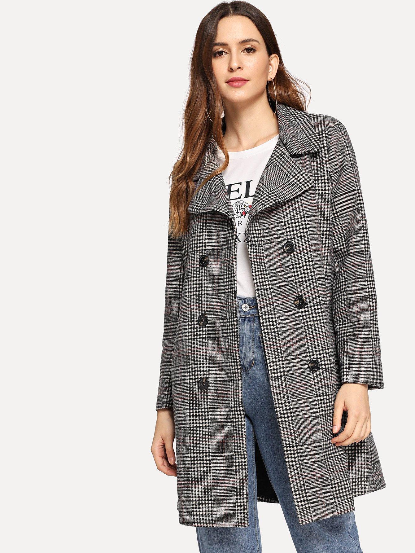 Повседневный стиль Клетчатый Двойная кнопка Тренч Пальто Черный Пальто SheIn