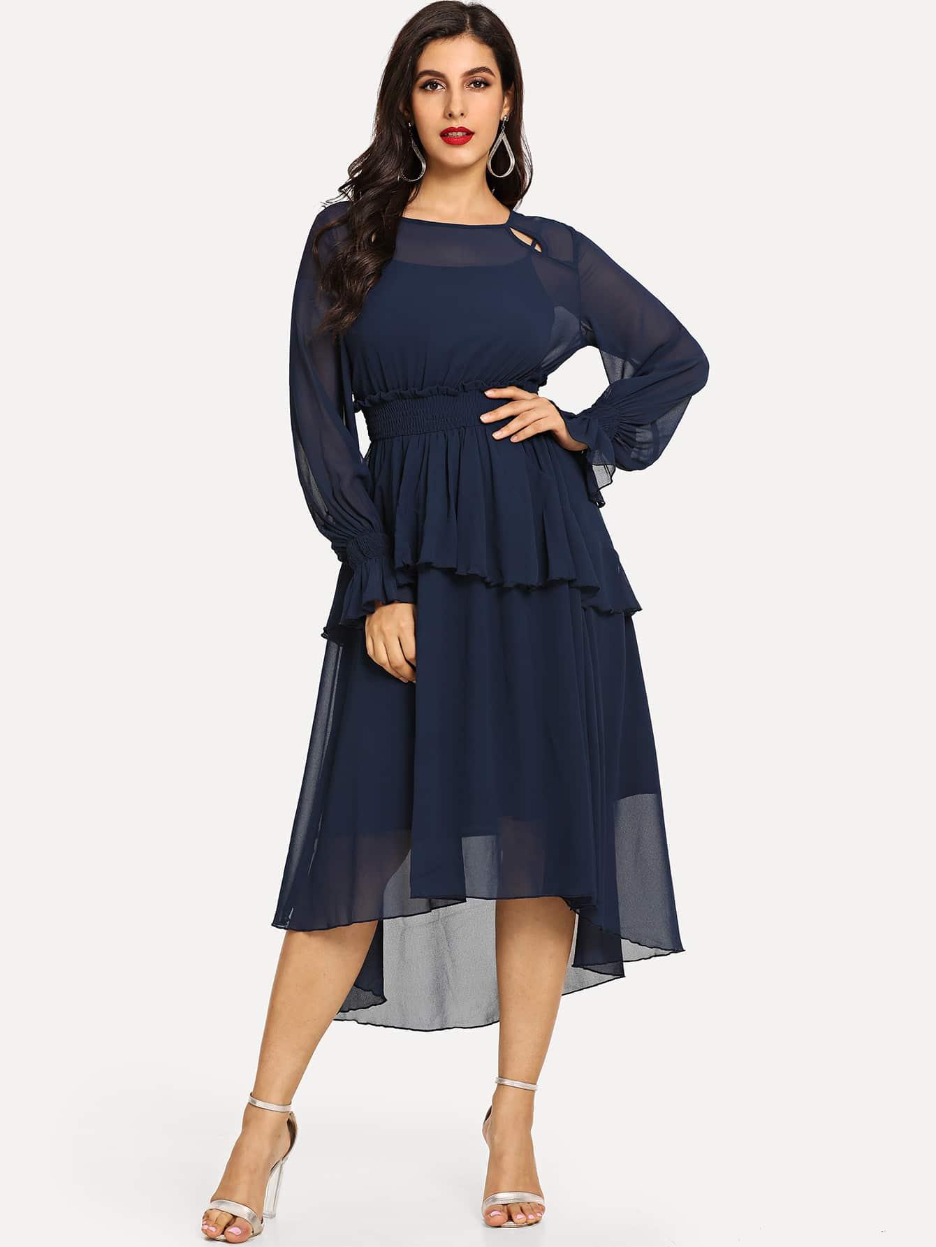Купить Одноцветное платье с асимметричным низом, Jeane, SheIn
