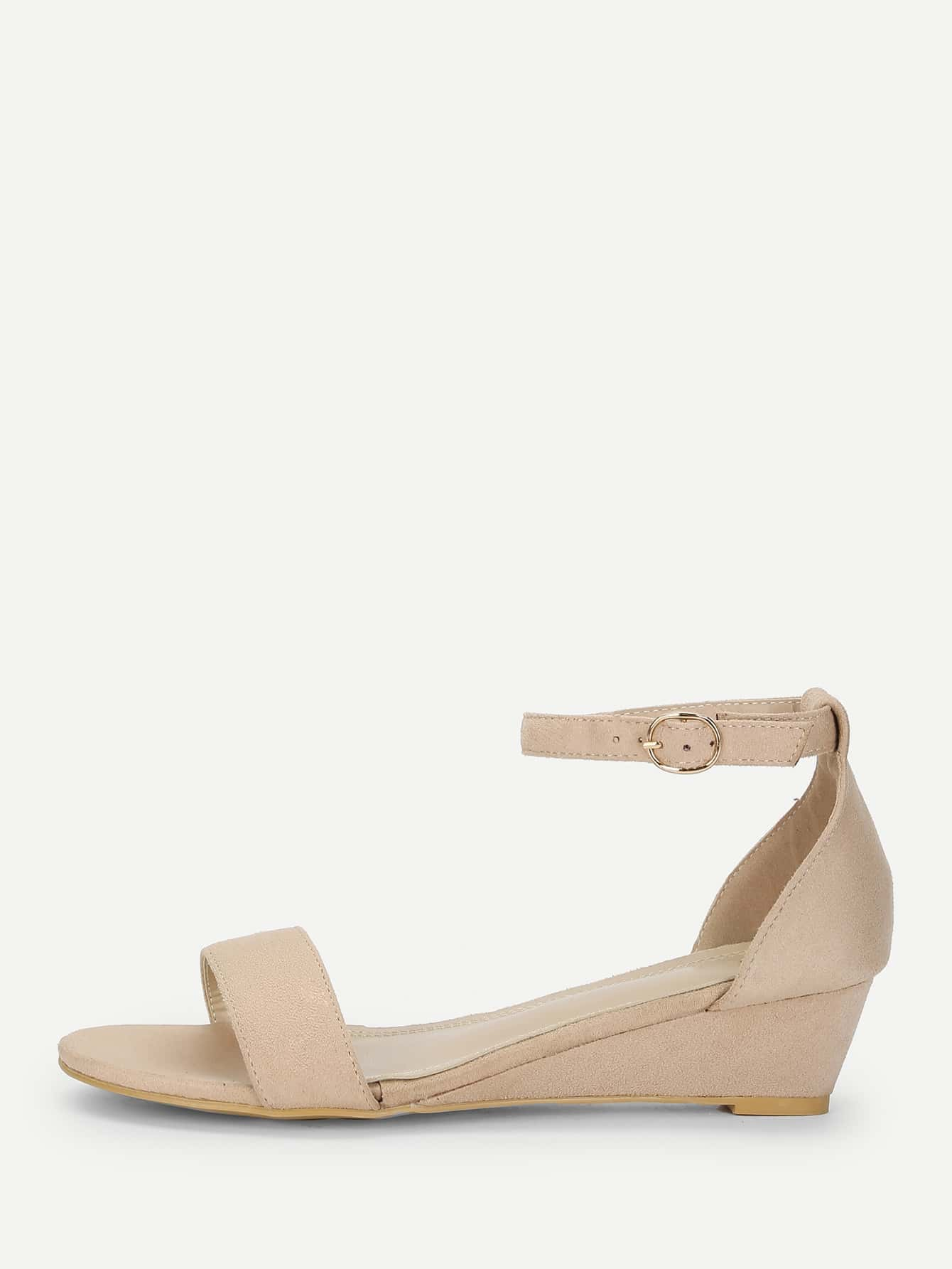 Two Part Ankle Strap Wedge Sandals