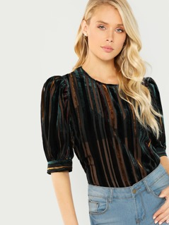 Velvet Textured Striped Blouse