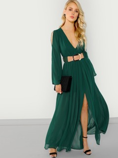 Long Sleeve Belted Maxi Dress