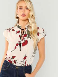 Floral Printed Short Sleeve Blouse