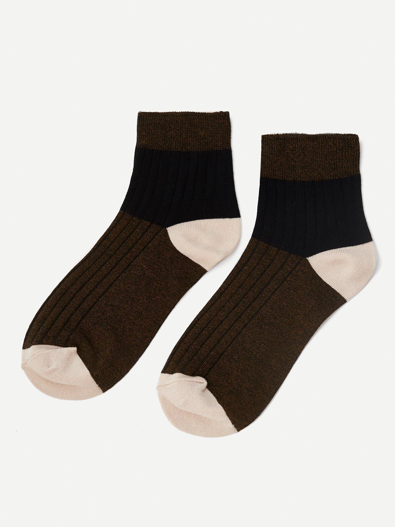 Männer Gerippte Knöchel Socken 1Paare mit Farbblock