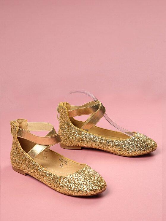 7c7972433b5 Toddler Kids Glittered Ankle Strap Ballet Flats