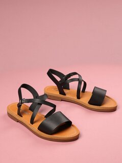 Toddlers Faux Leather Strappy Sandals