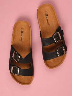 Toddlers Double Faux Leather Strap Sandals