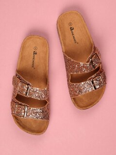 Toddlers Glittered Double Buckle Strap Sandals