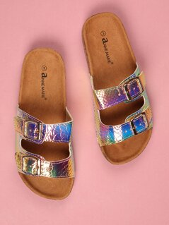 Toddlers Reflective Faux Leather Strap Sandals